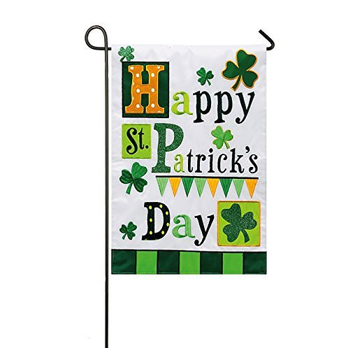 "**OPEN FLAG** St. Patrick's Day Medley 158418BL Applique HOUSE Flag 28"" x 44"""