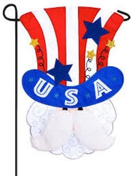 "Uncle Sam 168667BL Evergreen Applique Garden Flag 12.5"" x 18"""