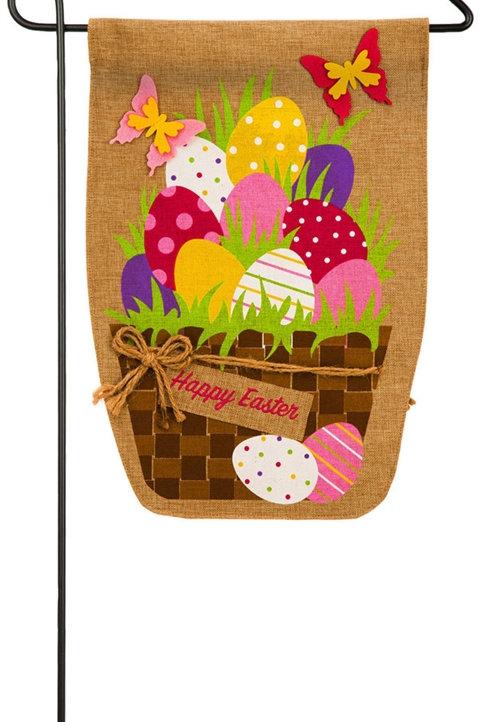 """Easter Egg Basket 14B4074BL Evergreen Burlap Garden Flag 12.5"""" x 18"""""""