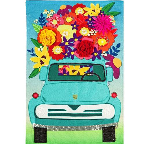 """Mint Flower Truck 13L8908BL Evergreen Linen HOUSE Flag 28"""" x 44"""""""