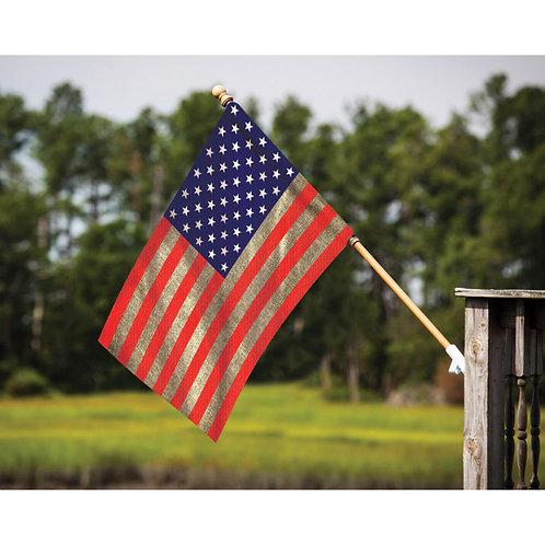 "**Open Flag** American Flag 13B3043  Evergreen BURLAP HOUSE Flag 28"" x 44"""
