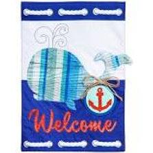 """Whale Welcome 14L4190BL Evergreen Linen Garden Flag 12.5"""" x 18"""""""