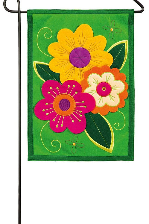 "Lively Flowers 16F8495 Evergreen Felt Garden Flag 12.5"" x 18"""