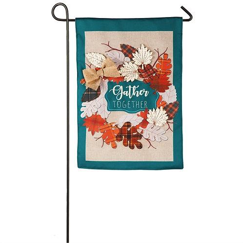"Autumn Leaves Wreath 14B8297 Evergreen Burlap Garden Flag 12.5"" x 18"""