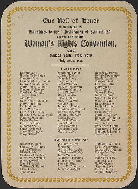 Signer of the the Declaration of Sentiments from the 1848 Seneca Falls Women's Rights Convention
