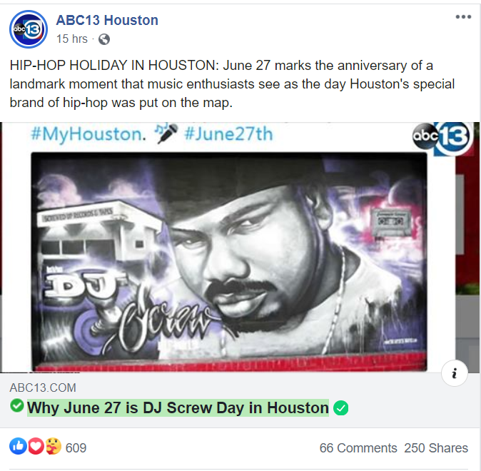 DJ Screw Day.  WHAT??????? How INSULTING!