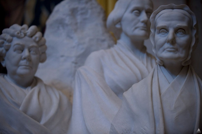 Stanton, Anthony & Mott. A Protestant & Two Quakers.  Women's Suffrage Centennial