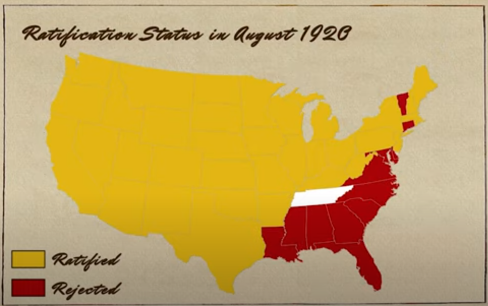 19th Amendment Ratification Map as of August 1920