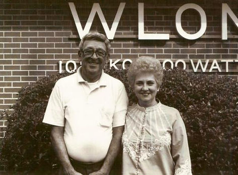 My Uncle Jack Brown and his sister Gertrude outside WLON, Lincolnton, North Carolina