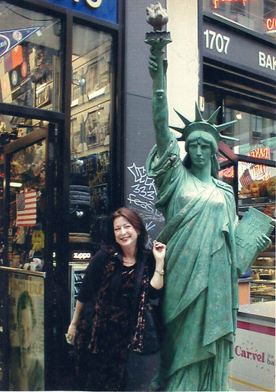 Lisa Annette Stanley outside the Ed Sullivan Theater, Times Square, October 2001