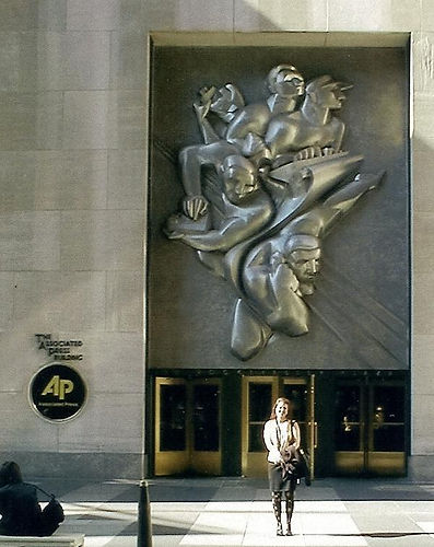 Lisa Annette Stanley outside Associated Press Headquarters in Times Square in 2001