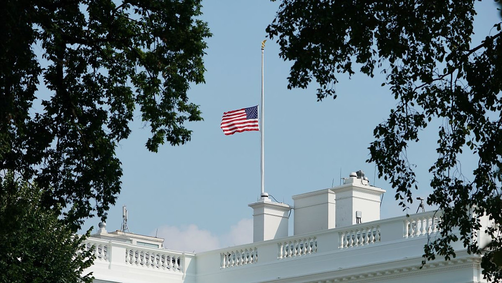 White House Flag at Half Mast for Covid-19