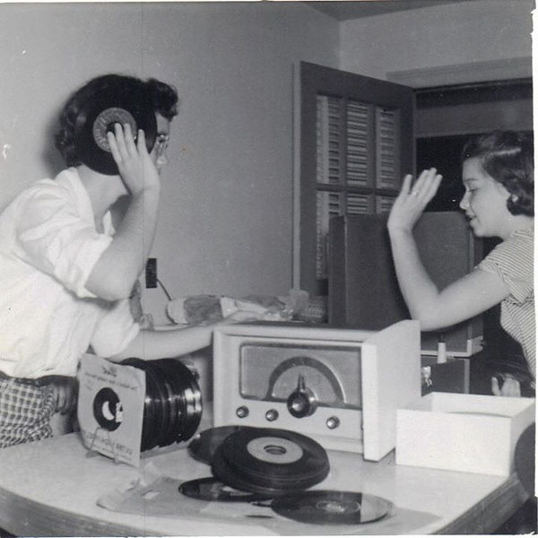 My Mom Brenda Stanley in 1957 Playing Records on a Record Player