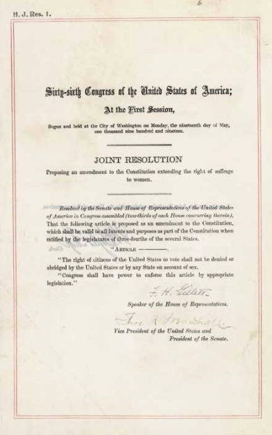 The 19th Amendment from the National Archives