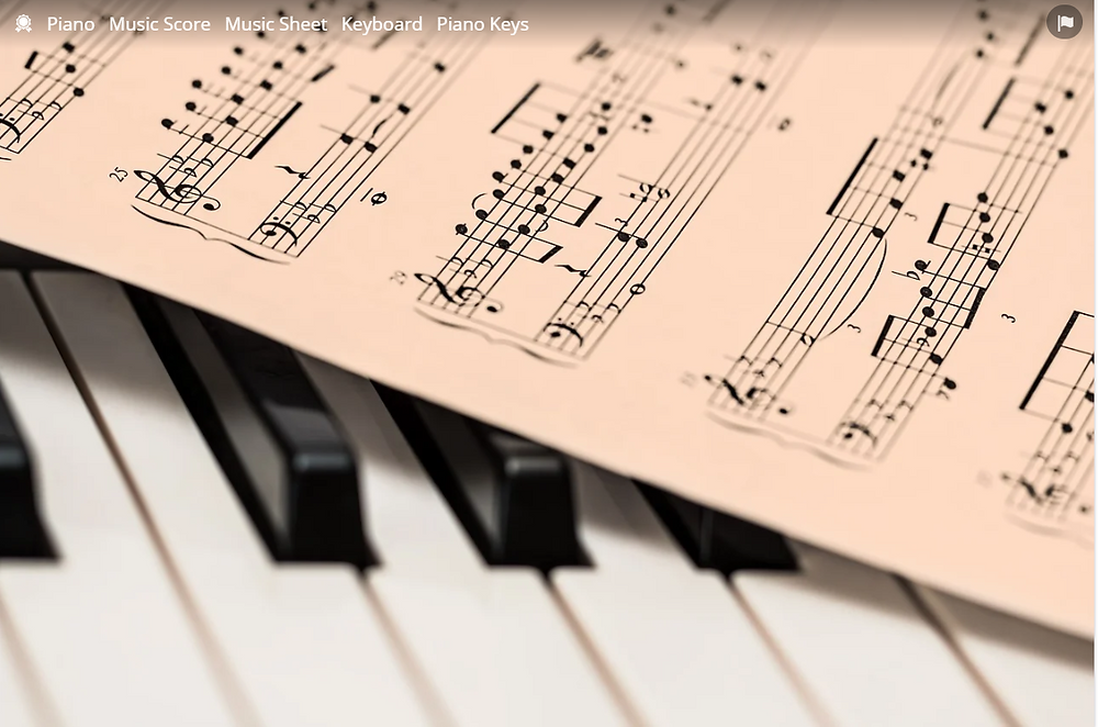 Sheet Music with Piano Keyboard