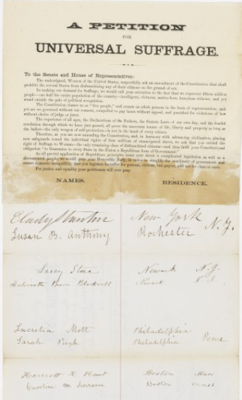 Petition for Universal Suffrage sent to Congress, January 19, 1867 Elizabeth Cady Stanton