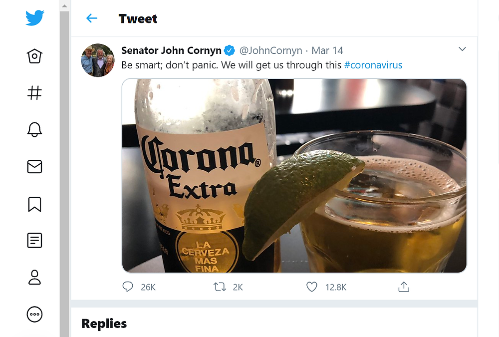 John Cornyn Tacky Tweet about Corona Virus