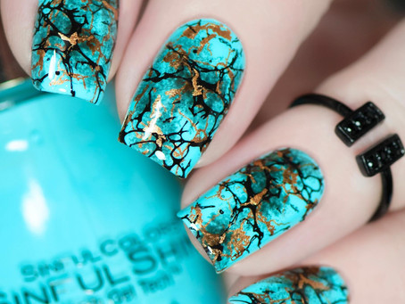 TURQUOISE STONE NAIL ART | Nicole Diary Stamping Plate (2020)