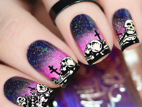 SKELETON NAIL ART | Reverse Stamping Nails with Hit The Bottle Stamping Products (2020)