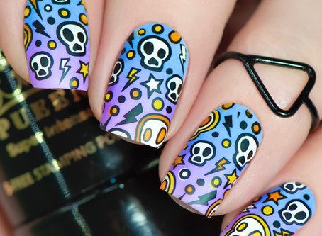 FUNKY SKULL NAIL ART TUTORIAL | Reverse Stamping Nails with Pueen Cosmetics (2020)