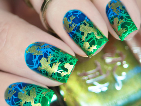 POND NAIL ART | Layered Stamping Nail Art with Jelly Polishes | Hit The Bottle