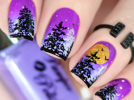 FOREST NAIL ART | Halloween nail art idea with Pamper Plates by The Nail Shop (2020)