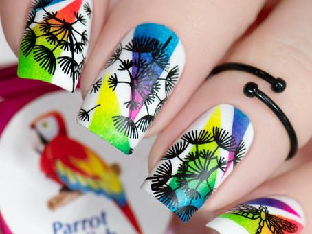 Dandelion Silhouette Nail Art