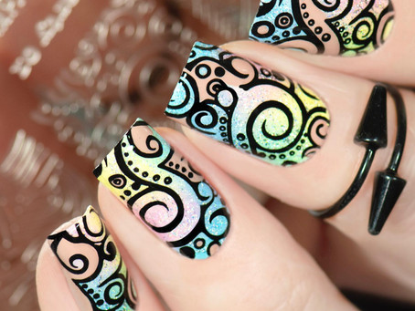 SWIRLY NAIL ART   Stamping Nail Design using PUEEN Cosmetics stamping products