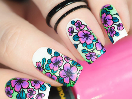 Floral Nail Art | Reverse Stamping Using Pueen Products