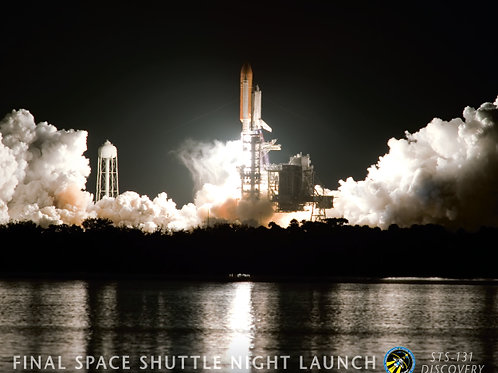Discovery Shuttle Night Launch Poster