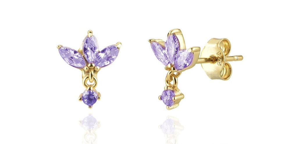 Pendientes dorados con circonitas violetas