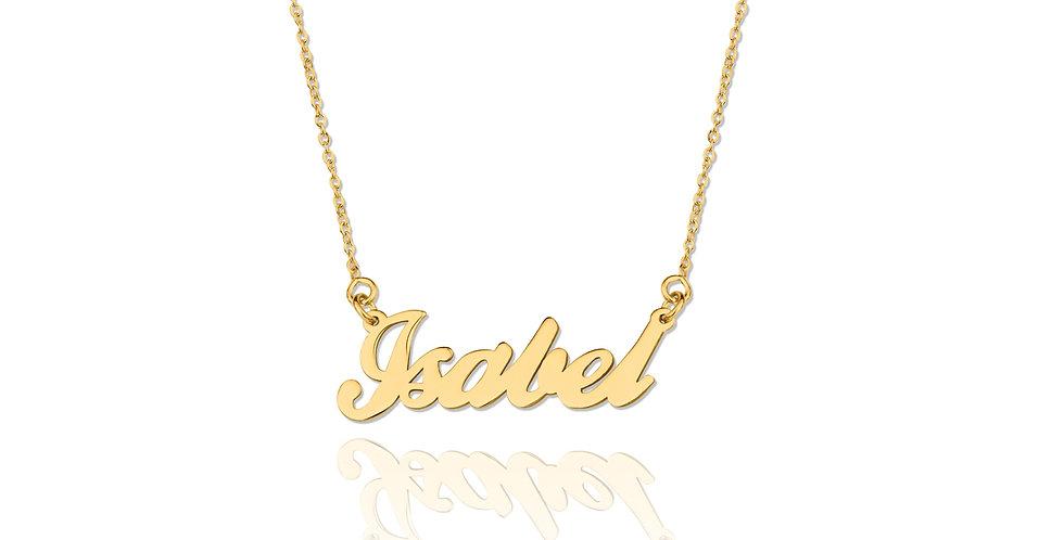 Colgante de nombre personalizable dorado