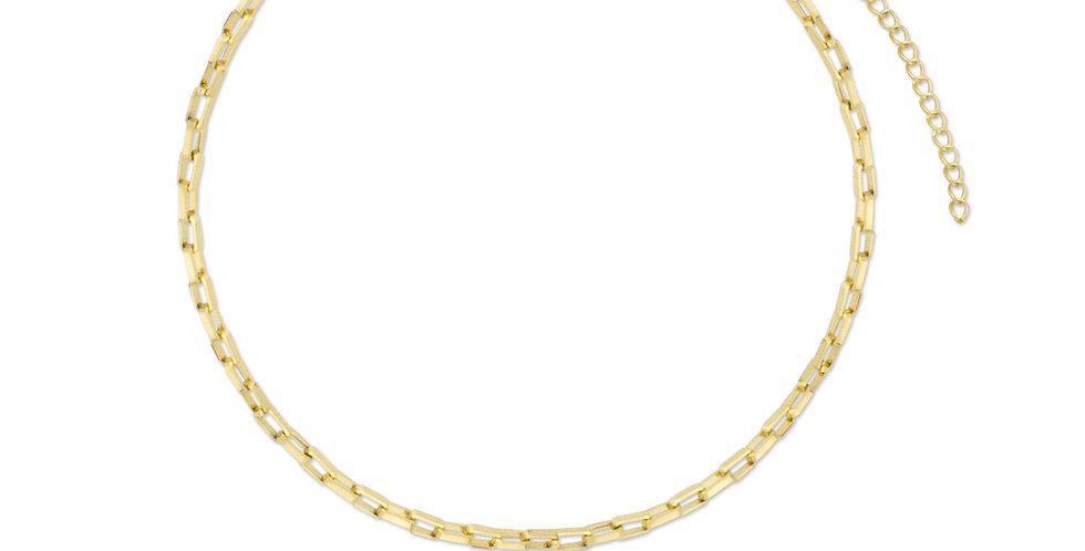 Cadena corta de acero inoxidable bañada en oro