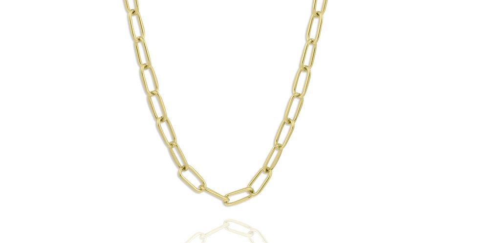 Cadena dorada con eslabones grandes. Acero inoxidable chapado en oro de larga duración.