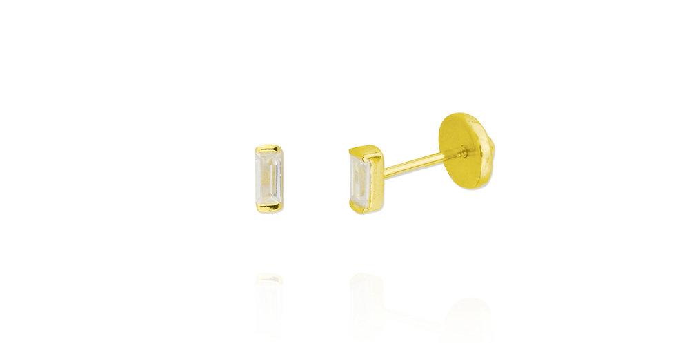 Pequeños pendientes dorados con circonita baguette transparente