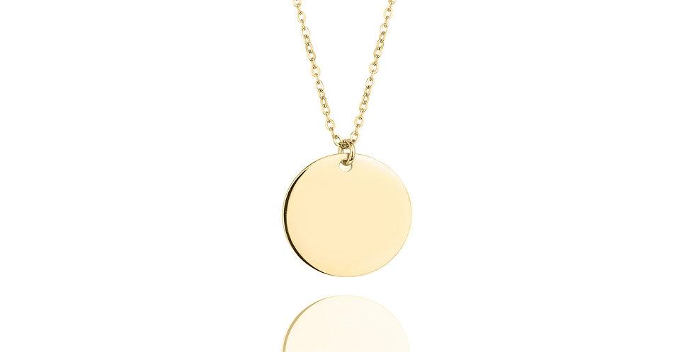 Colgante circular personalizable con letras o dibujos. Plata de ley con chapado en oro de alta calidad.