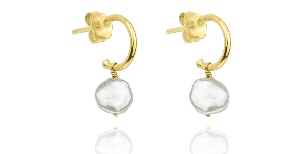 Pendientes semi aro dorados con perla blanca