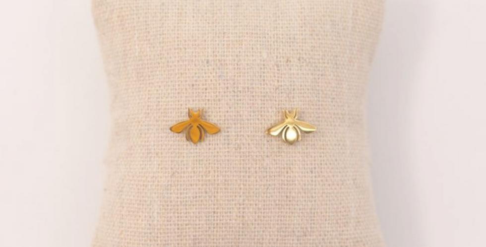 Pendientes dorados mini con forma de abeja