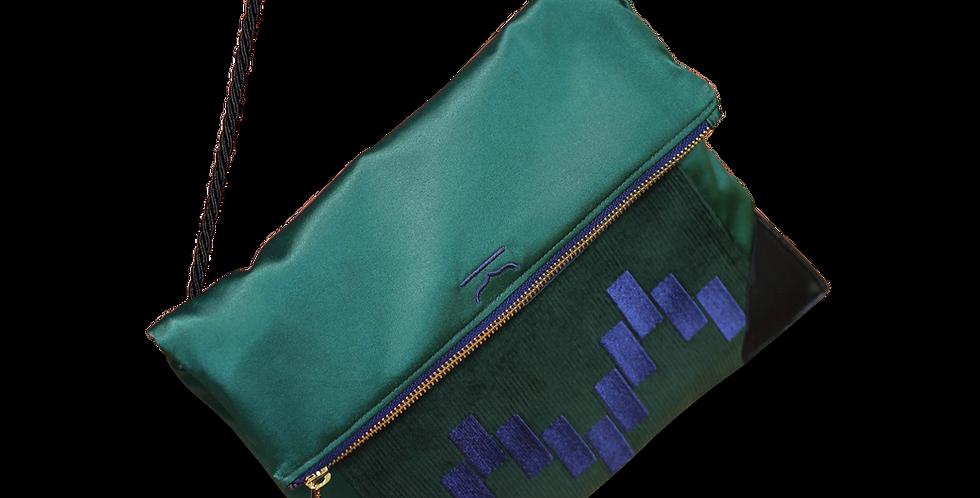 กระเป๋าสะพายข้าง-ผ้าซาติน corduroy-สีเขียว