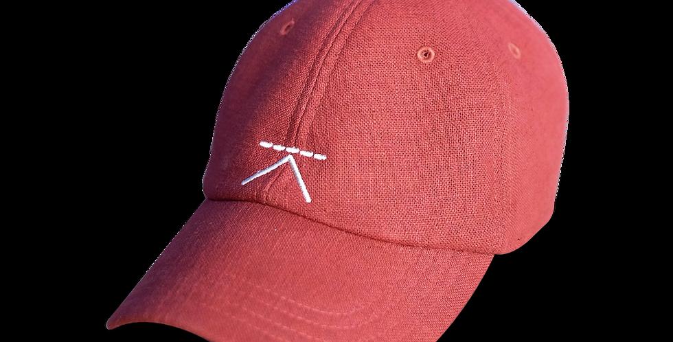 หมวกแก๊ปผ้าลินิน ผู้ชาย/ ผู้หญิง Unisex Linen cap - สีส้ม Orange - ปรับสายได้ Ad