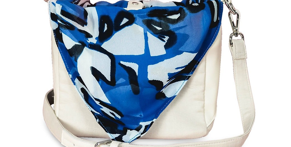 Shoulder bag กระเป๋าสะพาย- Cream/ Blue pattern - Tie It Bag ใส่ได้2แบบ