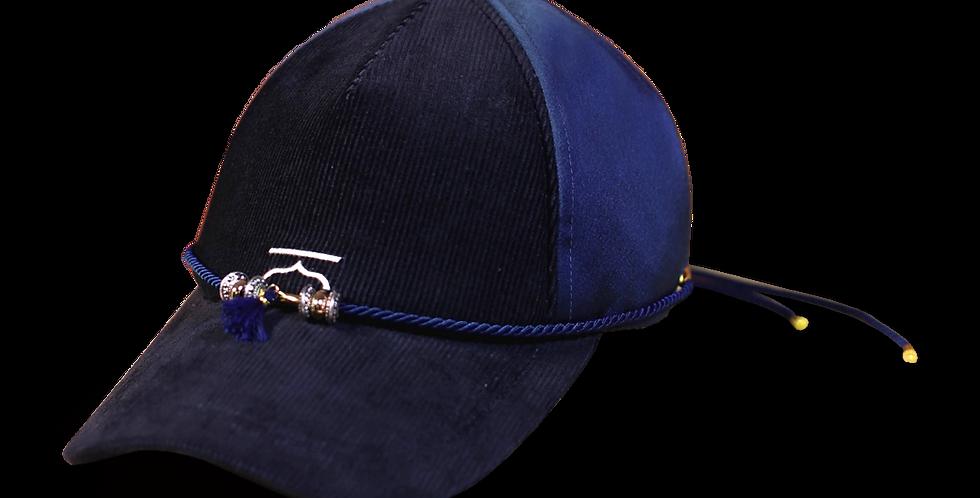 หมวกแก๊ปสีพื้น-ผ้าซาติน corduroy-สีกรม-ถอดสายเชือกได้
