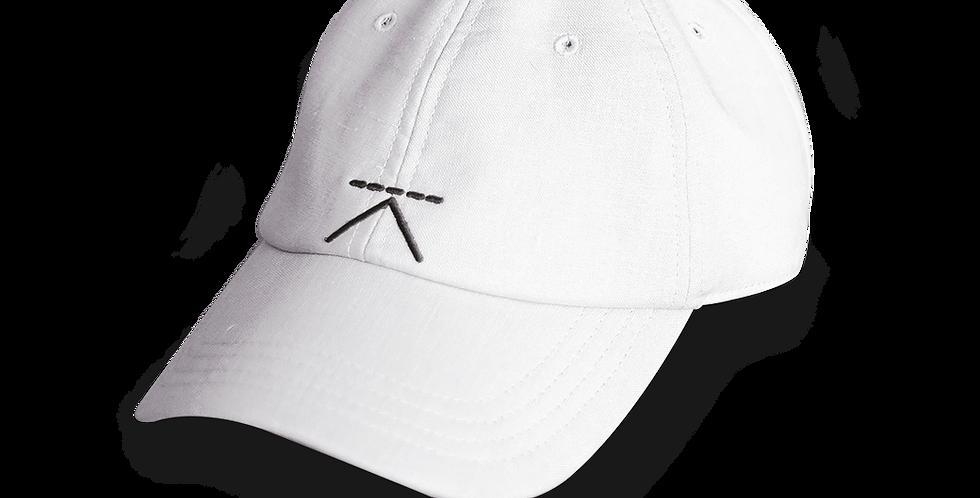 หมวกแก๊ป ผู้ชาย/ ผู้หญิง Unisex  Linen cap - สีขาว White - ปรับสายได้ Adjustable