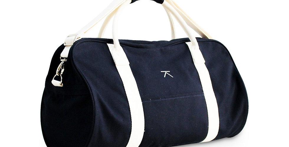 กระเป๋าสะพายผู้ชาย/ ผู้หญิง Canvas Travel bag -สีกรม Navy- ปรับสายได้