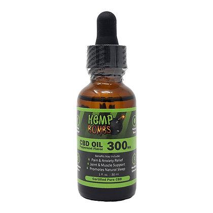 Hemp Bombs CBD Oil 300mg, 1 fl. oz./30ml --PEPPERMINT Flavor