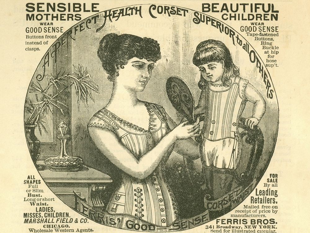 An advertisement for a 19th century child's corset