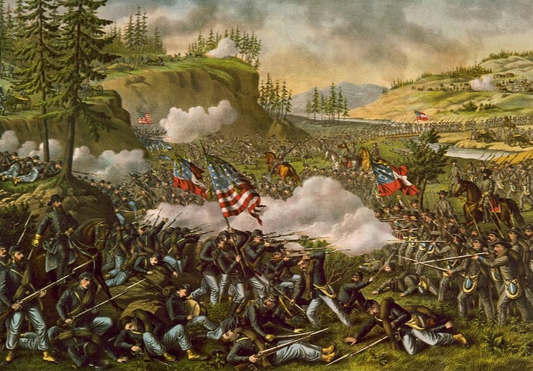 A civil war battle scene with two armies shooting each other