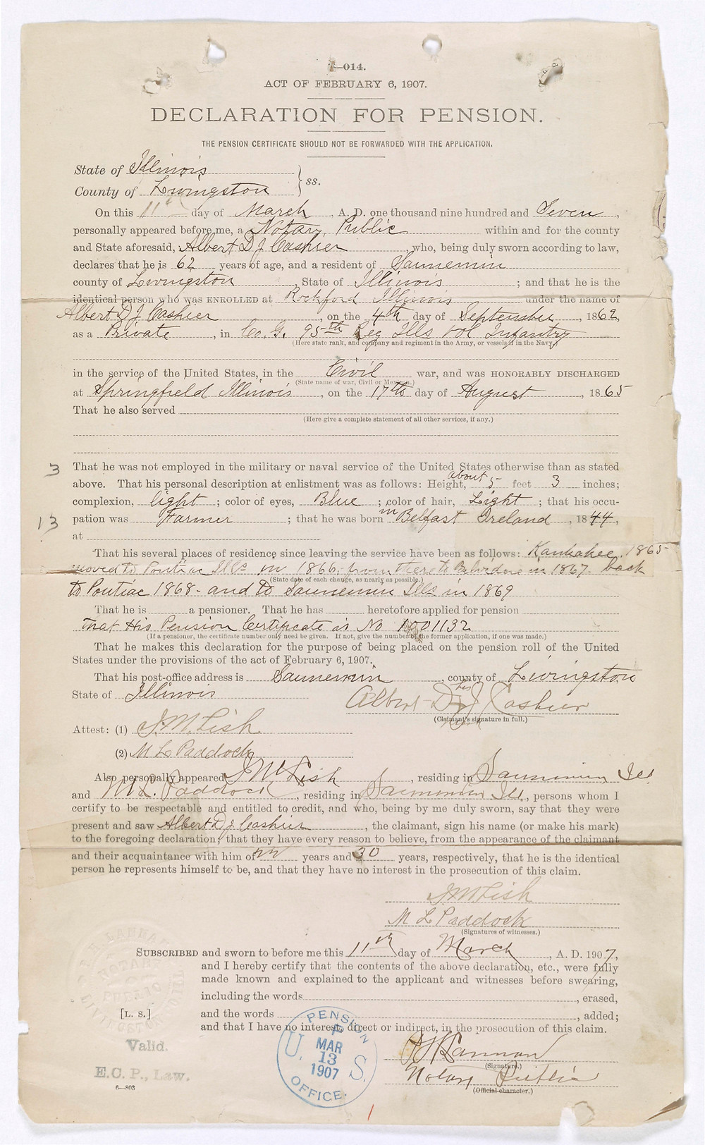 A document requesting a military pension on behalf of Albert Cashier