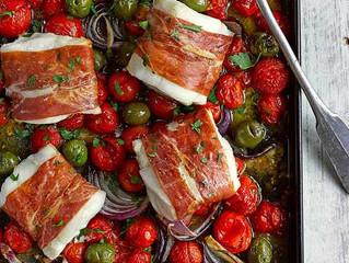 Cod, Cherry Tomato and GreenOlive Tray Bake