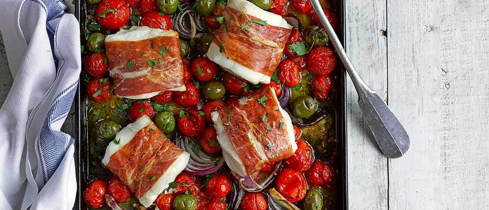 Cod, cherry tomato and green olive tray bake